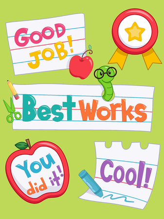 clip art: Illustration of Ready to Print Achievement Labels Stock Photo