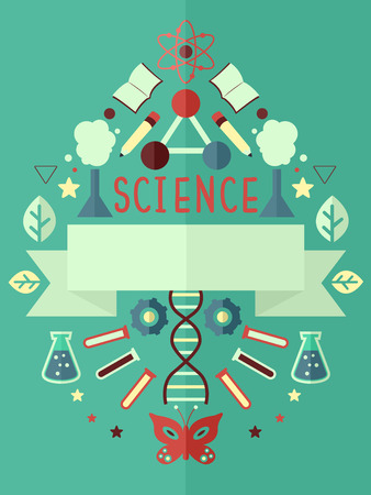 grade schooler: Poster Illustration Featuring Science Related Elements