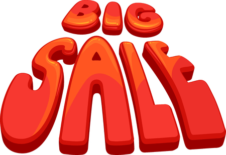 thrift: Typography Illustration Featuring the Phrase Big Sale Stock Photo