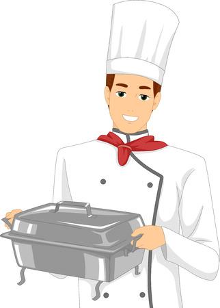 piatto: Illustrazione di uno Chef maschio conducendo una scaldavivande
