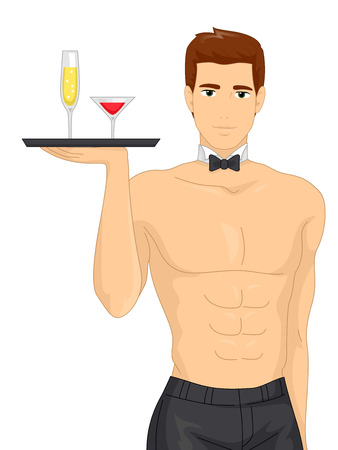 bachelorette: Illustration of a Muscular Waiter Serving Drinks at a Bachelorette Party
