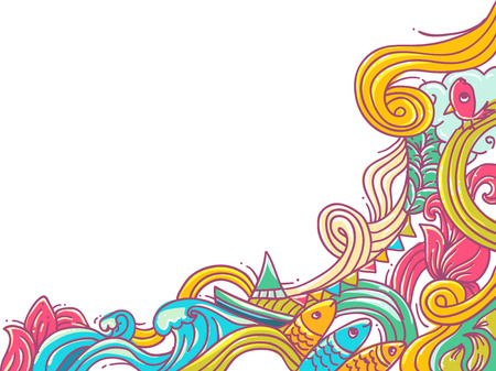 swell: Border Illustration Featuring Colorful Waves Stock Photo