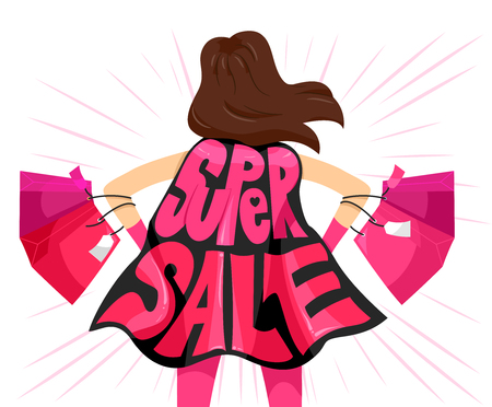 thrift: Typography Illustration Featuring the Phrase Super Sale