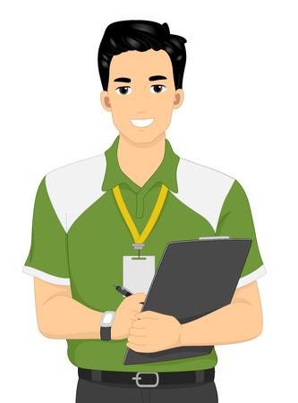 educacion fisica: Ilustración de un entrenador personal masculino que lleva un sujetapapeles Foto de archivo