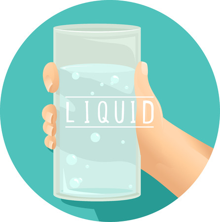 matter: Illustration of a Kid Holding a Glass of Water