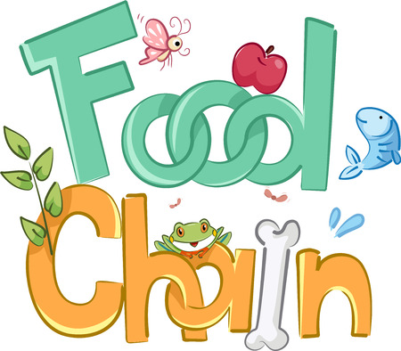 chains: Typography Illustration Featuring the Phrase Food Chain