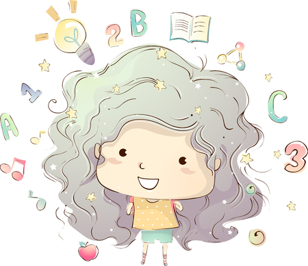 gir: Illustration of a Cute Little Girl Surrounded by Education Related Elements