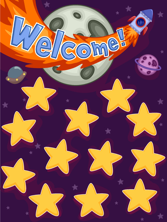 studying classroom: Illustration Featuring Planets and Stars as Name Board Stock Photo