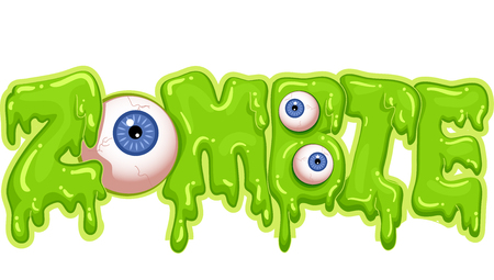 slime: Typography Illustration Featuring Green Goop Spelling the Word Zombie