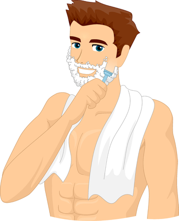 beard man: Illustration of a Man Applying Shaving Cream on His Face