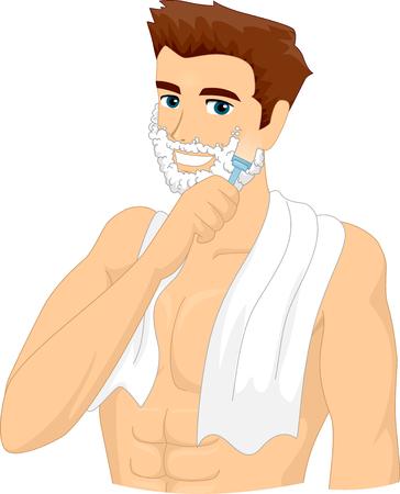 shaving cream: Illustration of a Man Applying Shaving Cream on His Face