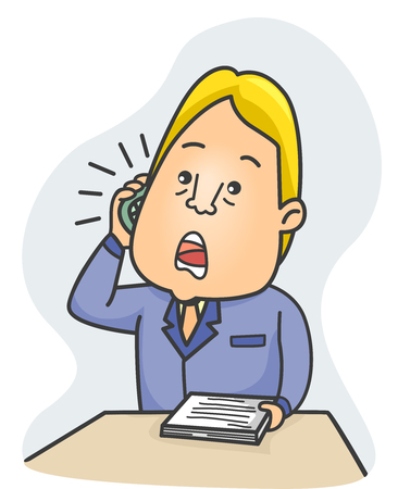 negotiator: Illustration of a Literary Agent Talking Over the Phone Stock Photo