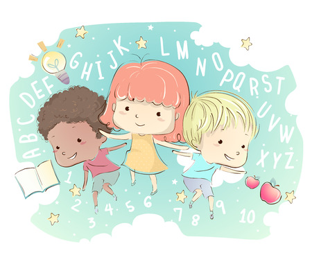 whimsical: Whimsical Illustration of Kids Surrounded by Letters and Numbers Stock Photo