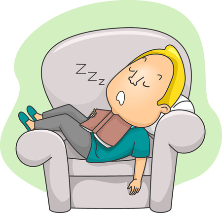 Illustration of a Man Dozing Off After Reading a Book