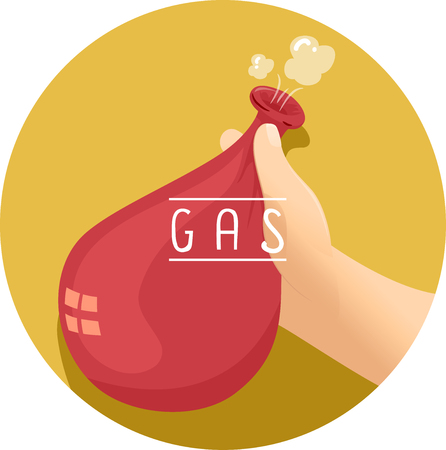 Illustration of a Kid Holding a Balloon Filled with Air Stock Photo