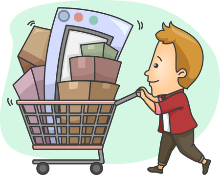 cart: Illustration of a Man Pushing a Shopping Cart Full of Goods