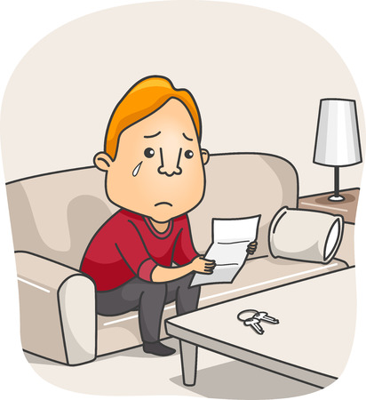 tearful: Illustration of a Tearful Man Reading a Goodbye Letter