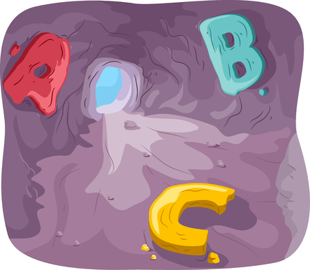 teaching aid: Illustration of a Cave with Letters of the Alphabet Inside