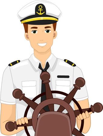 Illustratie van een Kapitein achter het stuur
