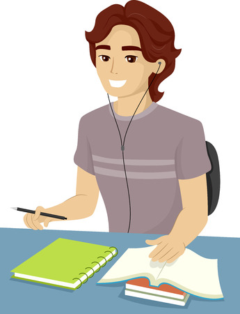 assignments: Illustration of a Teenage Boy Reviewing for an Exam Stock Photo