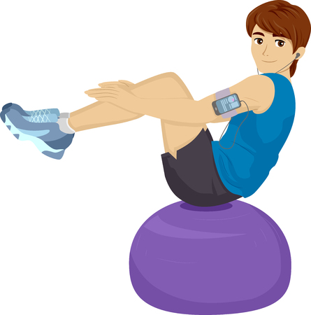 sit ups: Illustration of a Teenage Boy Using a Balance Ball to Work Out Stock Photo
