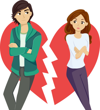 Illustration of a Teenage Couple Breaking Up