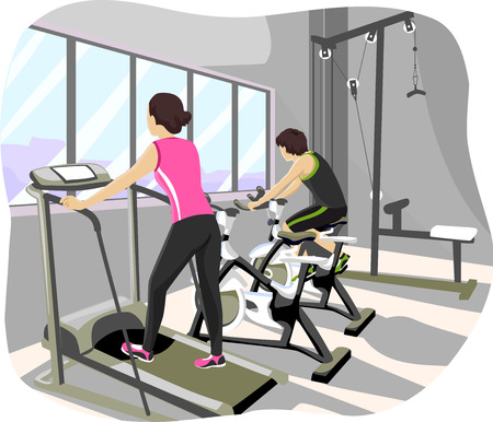 treadmill: Illustration of a Teenage Couple Working Out at the Gym Stock Photo