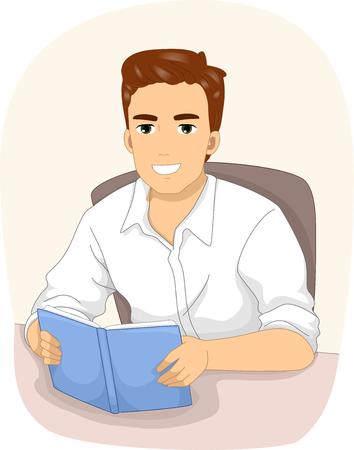 storyteller: Illustration of a Man Reading a Book Stock Photo