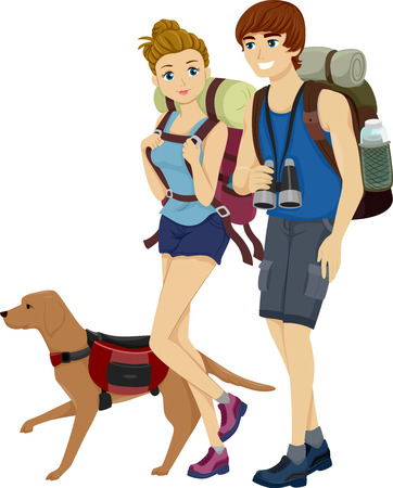 couple hiking: Illustration of a Teenage Couple Hiking Together