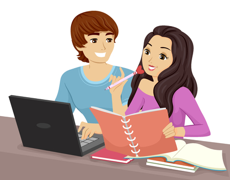 study group: Illustration of a Teenage Couple Studying Together Stock Photo