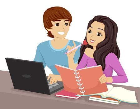 teenage couple: Illustration of a Teenage Couple Studying Together Stock Photo