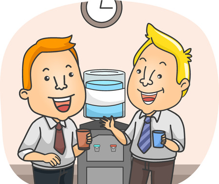 water cooler: Illustration of Officemates Chatting by the Water Cooler