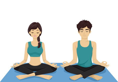 couple together: Illustration of a Teenage Couple Doing Yoga Together