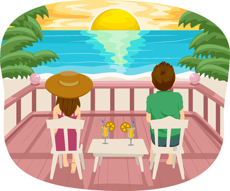 couple date: Illustration of a Teenage Couple Having a Romantic Date by the Beach Stock Photo