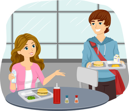 college girl: Illustration of a Teenage Couple Sharing a Cafeteria Table Stock Photo