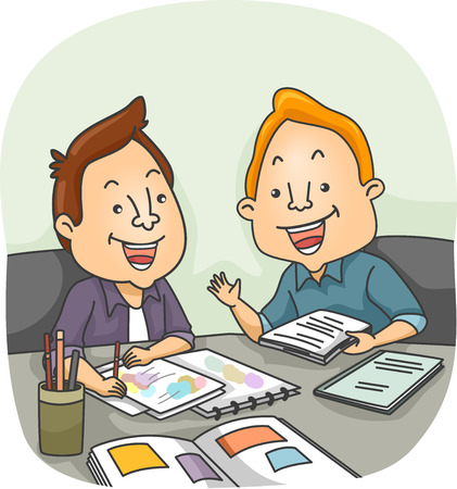 writer: Illustration of an Artist and a Writer Having a Meeting Stock Photo