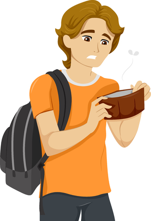 empty wallet: Illustration of a Teenage Boy with an Empty Wallet Stock Photo