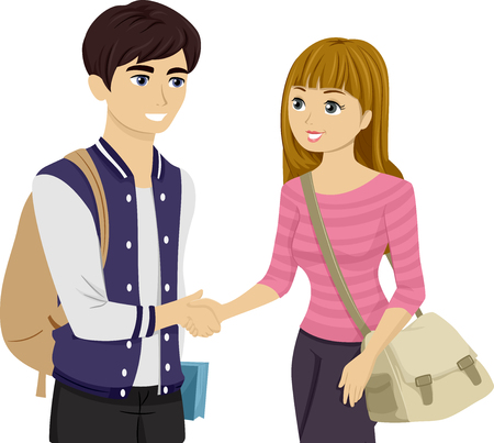 introduced: Illustration of Teens Shaking Hands After Being Introduced Stock Photo