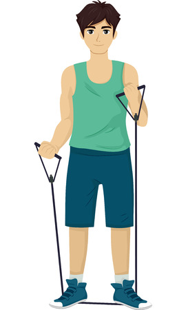 muscle gain: Illustration of a Teenage Boy Using a Resistance Band