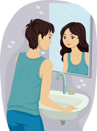young girl nude: Illustration of a Teenage Boy Going Through an Identity Crisis Stock Photo