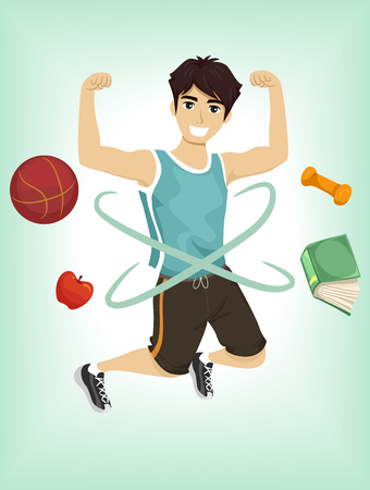 physical fitness: Illustration of a Teenage Boy Demonstrating His Physical Fitness