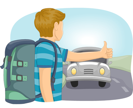 transient: Illustration of a Teenage Boy Hitching a Ride