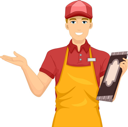 restaurant staff: Illustration of a Waiter Welcoming Diners