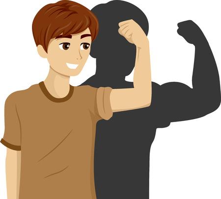 flexing: Illustration of a Teenage Boy Flexing His Bicep