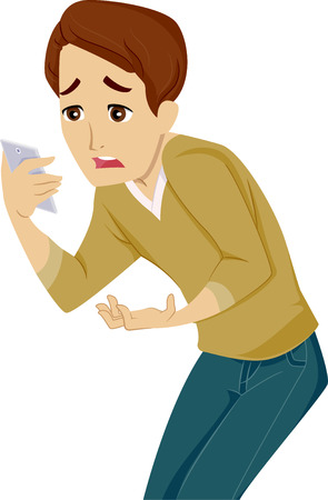 bad news: Illustration of a Teenage Boy Feeling Disappointed After Reading a Message