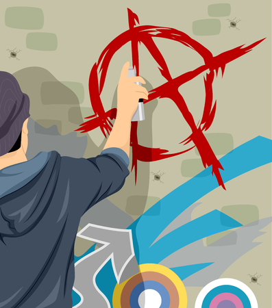rebellious: Illustration of a Teenage Boy Drawing the Anarchy Symbol