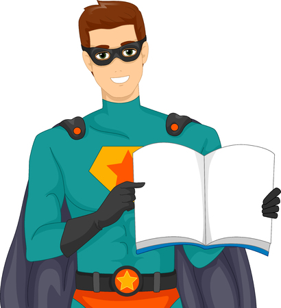 to make believe: Illustration of a Man Dressed as a Superhero Reading a Story