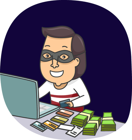 Ilustración de un ladrón de identidad oculta detrás de un ordenador