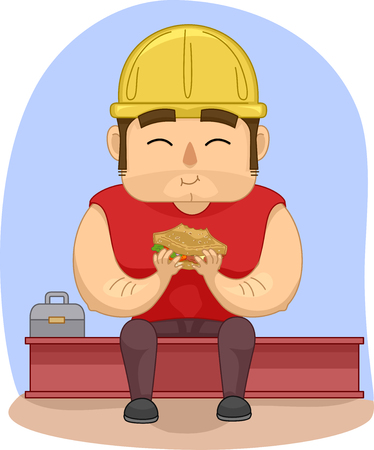 eating lunch: Illustration of a Construction Worker Eating His Lunch