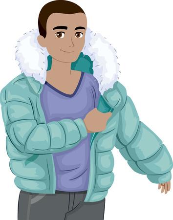 Illustration of a Teenage Boy Putting a Winter Jacket On Foto de archivo